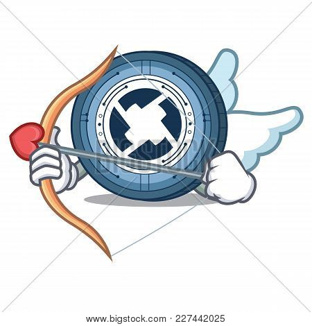 Cupid 0x Coin Character Cartoon Vector Illustration