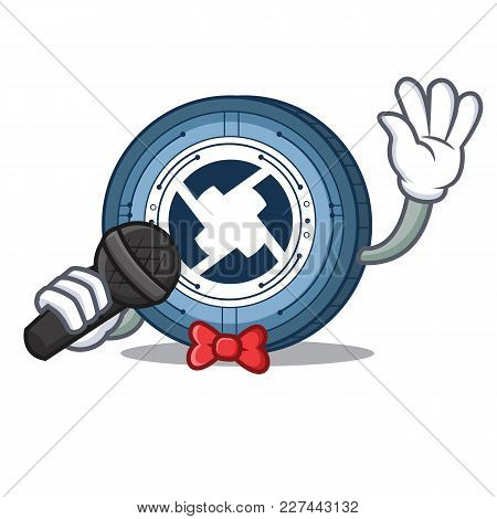 Singing 0x Coin Mascot Cartoon Vector Illustration