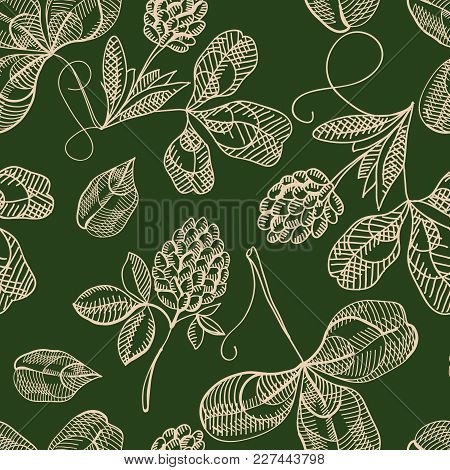 Floral Saint Patricks Day Seamless Pattern With Sketch Shamrock And Four Leaf Clover On Green Backgr