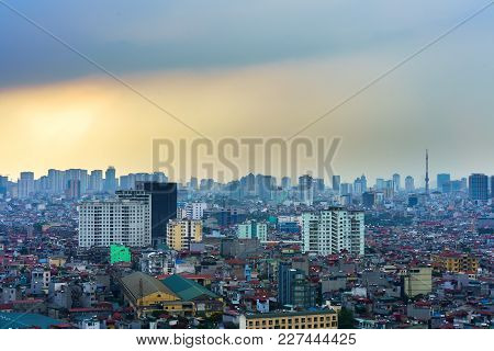 Hanoi, Vietnam - June 5, 2017: Aerial View Of Hanoi Cityscape By Twilight Period, With Hai Ba Trung