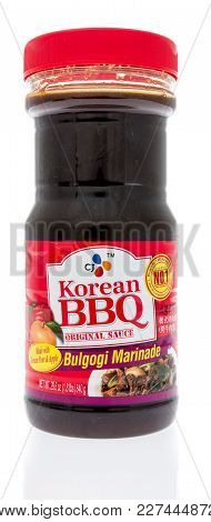 Winneconne, Wi - 2 January 2018: A Bottle Of Korean Bbq Bulgogi Marinade Sauce On An Isolated Backgr