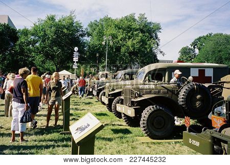 World War Two United States Military Hardware Vehicles Trucks On Display At The World War Two Dedica