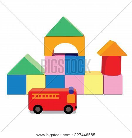Building Blocks With Fire Truck, Creative Toy Blocks. Illustration Isolated On White Background