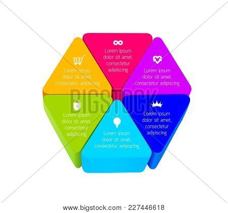 Three Dimensions Triangle Toy Blocks Build In Hexagon Shape. Info Graphic For Your Design. Vector Il