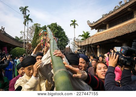 Hanoi, Vietnam - Jun 22, 2017: Raising Neu Tree Rituals In Communal House At So Village, Quoc Oai Di