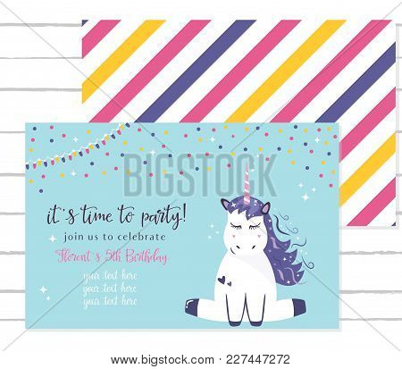 Baby Shower Invitation Template With Cute Unicorn.