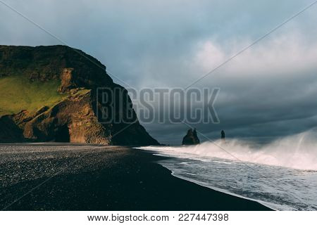 Incredible view of the Black beach and troll toes. Reynisdrangar, Vik, Iceland