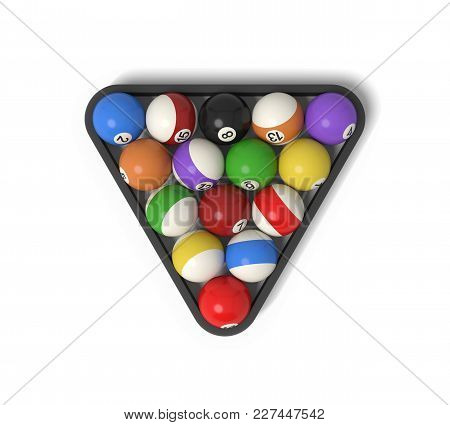 3d Rendering Of Many Billiard Balls With Colorful Stripes And Numbers Inside A Rack. Gaming Equipmen