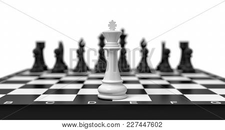 3d Rendering Of A Lone White Chess King Stands On A Chess Board With Black Figures Looming In The Bl