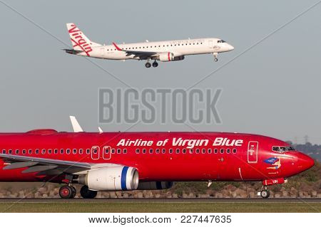 Sydney, Australia - May 5, 2014: Pacific Blue Airlines (virgin Australia Airlines) Boeing 737 On The