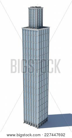 3d Rendering Of A White High Office Building With Many Large Windows. Commercial Building. Offices A