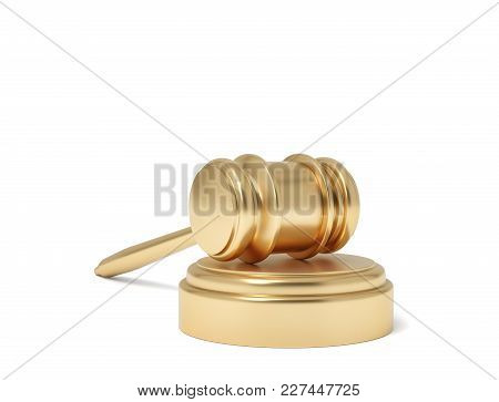 3d Rendering Of An Isolated Judge Gavel Resting On A Sound Block On A White Background. Business And