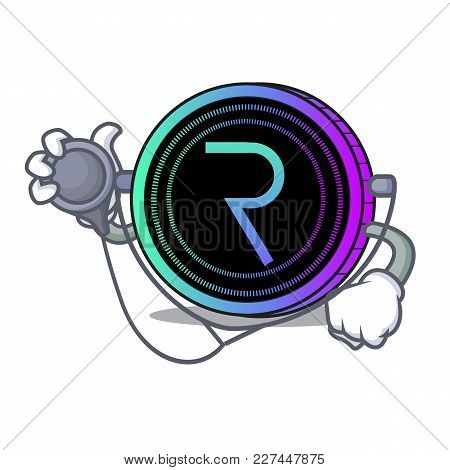 Doctor Request Network Coin Character Cartoon Vector Illustration