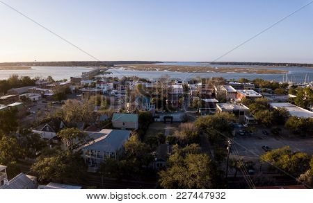 Aerial view of small town of Beaufort, South Carolina on the Atlantic coast.