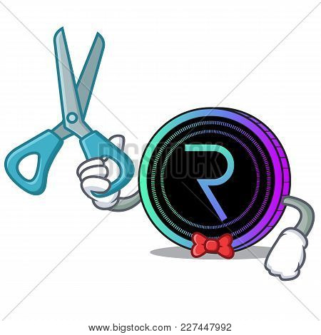 Barber Request Network Coin Character Cartoon Vector Illustration