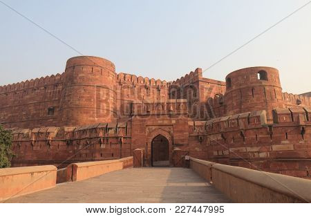 Agra India - October 23, 2017: Amar Singh Gate Agra Fort Historical Architecture Agra India