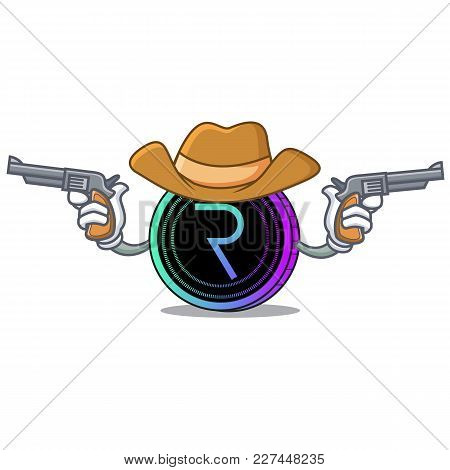 Cowboy Request Network Coin Character Cartoon Vector Illustration