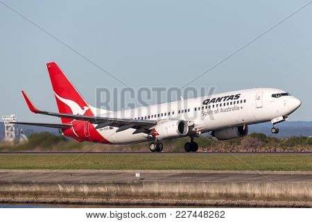 Sydney, Australia - May 5, 2014: Qantas Boeing 737-800 Aircraft Taking Off From Sydney Airport.