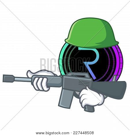 Army Request Network Coin Character Cartoon Vector Illustration