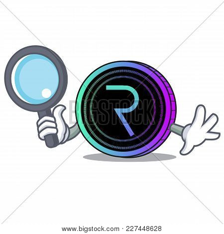 Detective Request Network Coin Character Cartoon Vector Illustration