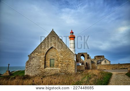 One of the most beautiful and famous lighthouse in Brittany, France, Saint Mathieu