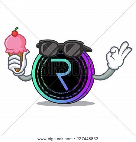 With Ice Cream Request Network Coin Character Cartoon Vector Illustration