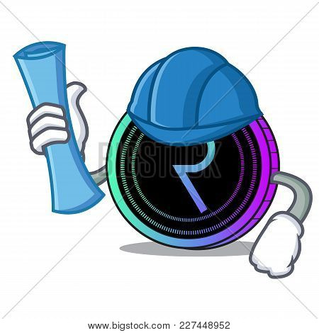 Architect Request Network Coin Character Cartoon Vector Illustration