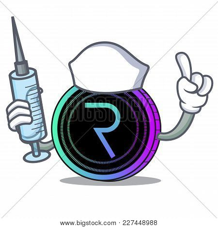Nurse Request Network Coin Character Cartoon Vector Illustration