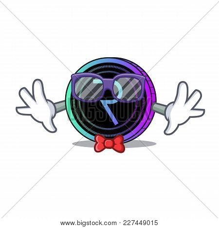 Geek Request Network Coin Character Cartoon Vector Illustration