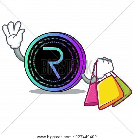 Shopping Request Network Coin Character Cartoon Vector Illustration