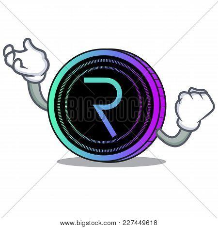 Successful Request Network Coin Character Cartoon Vector Illustration