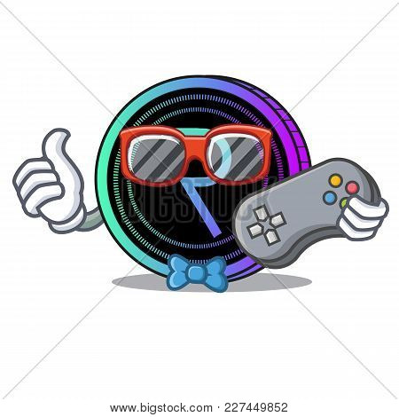 Gamer Request Network Coin Mascot Cartoon Vector Illustration