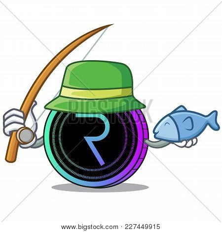 Fishing Request Network Coin Mascot Cartoon Vector Illustration
