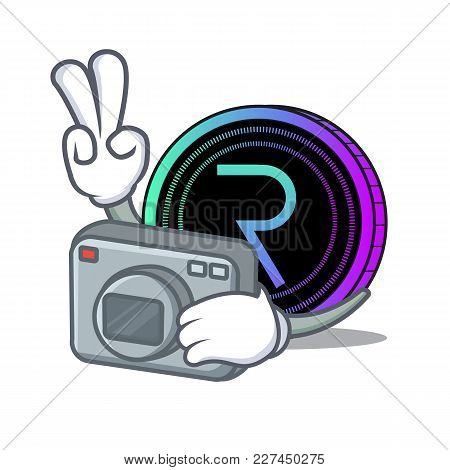 Photographer Request Network Coin Mascot Cartoon Vector Illustration