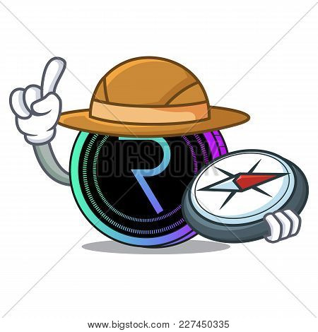 Explorer Request Network Coin Mascot Cartoon Vector Illustration