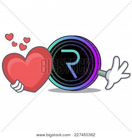 With Heart Request Network Coin Mascot Cartoon Vector Illustration