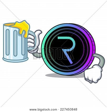 With Juice Request Network Coin Mascot Cartoon Vector Illustration