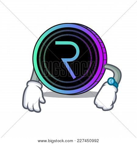 Waiting Request Network Coin Mascot Cartoon Vector Illustration