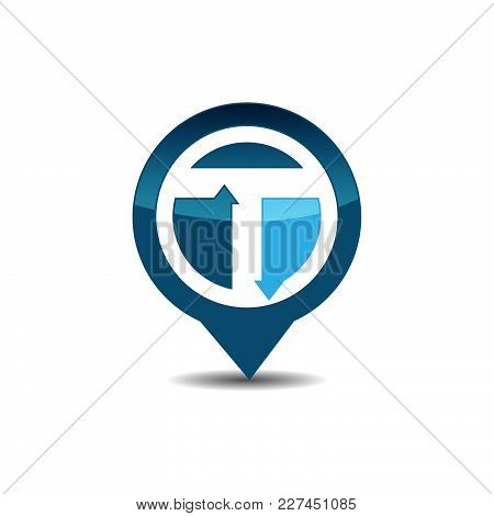 T Letter Gps Logo. Gps Vector. Gps Icon. Navigation Vector Logo. Navigation Vector Icon. Travel Logo