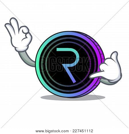 Call Me Request Network Coin Mascot Cartoon Vector Illustration