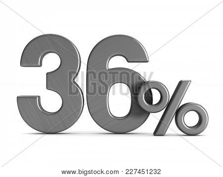 thirty six percent on white background. Isolated 3D illustration