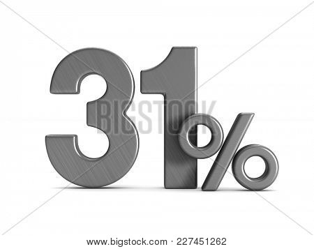 thirty one percent on white background. Isolated 3D illustration