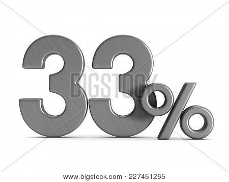 thirty three percent on white background. Isolated 3D illustration