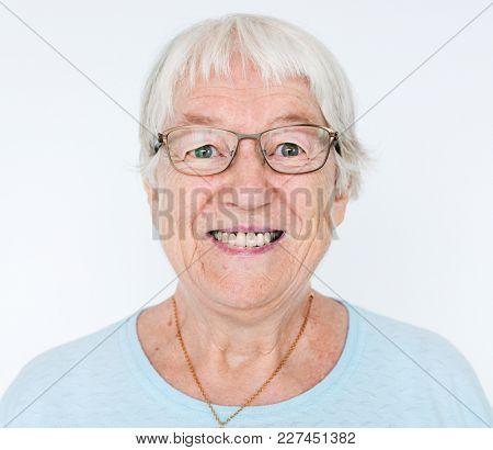 Portrait of smiling white elderly woman
