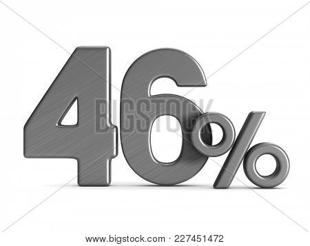 forty six percent on white background. Isolated 3D illustration