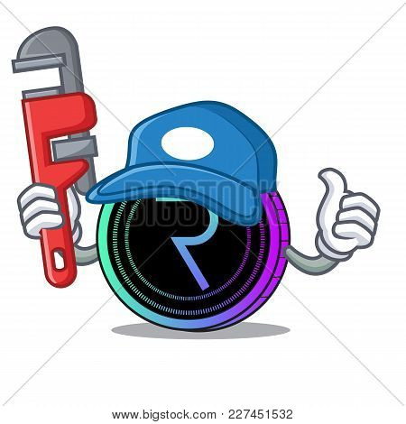 Plumber Request Network Coin Mascot Cartoon Vector Illustration