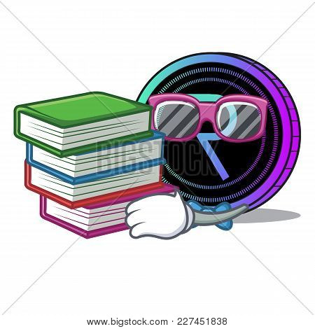 Student With Book Request Network Coin Mascot Cartoon Vector Illustration
