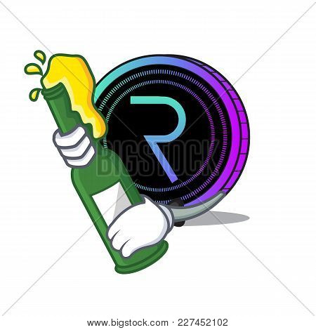 With Beer Request Network Coin Mascot Cartoon Vector Illustration