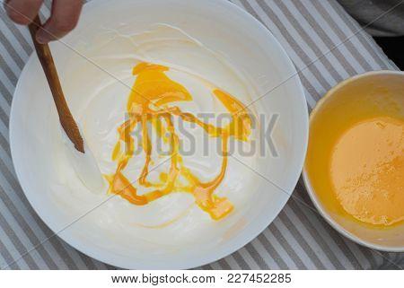 Mixing Ingredients For Pancake Dogh On Kitchen Table. Food Preparing. Raw Dough In Ceramic Bowl.