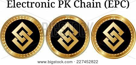Set Of Physical Golden Coin Electronic Pk Chain (epc), Digital Cryptocurrency. Electronic Pk Chain (